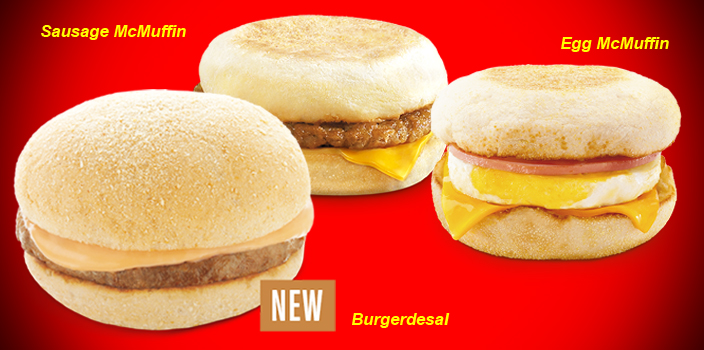McDo's also has some localized breakfast offerings with the Hamdesal which is a pan de sal (Philippine bread) filled with Canadian bacon, pineapple glazed syrup, and mayo. You can also choose to get it with egg or with cheese for an upcharge. The base price is 39 pesos ($) for a Hamdesal with coffee.